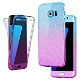 Connect Zone Compatible for Samsung S7 Edge Ultra Slim 360-degree Shockproof Case Cover Front and Back Full Body TPU Silicone Gel - Blue Pink Glitter