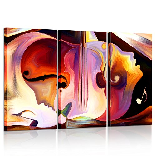 Kreative Arts Large 3 Pieces Music Canvas Painting Colorful Abstract