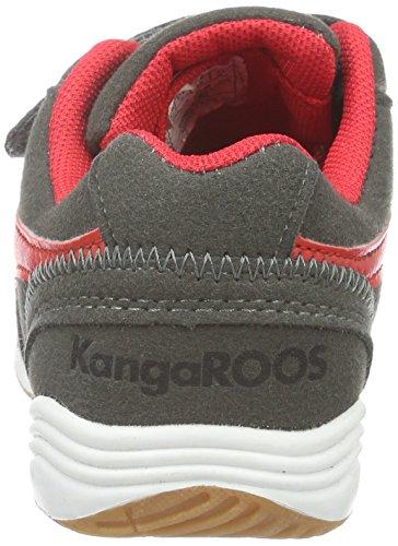 KangaROOS Power Court Ps - Zapatillas Unisex Niños Gris - Grau (Dk Grey/flame red 266)