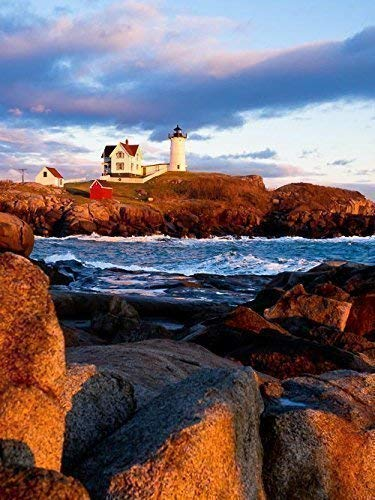 - 7x10 matted to 11x14 Nubble Lighthouse Sunset, Maine Photograph