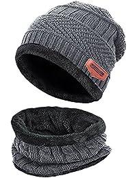 2Pcs Kids Winter Knitted Hats+Scarf Set Warm Fleece Lining Cap for 5-14 aa50f0d1e4ae