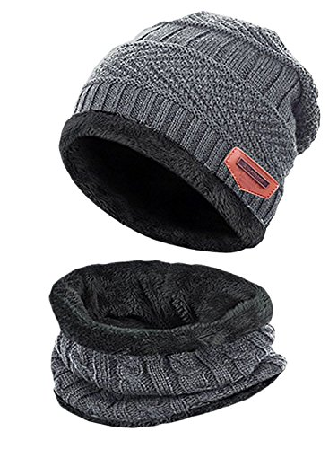 - T-wilker 2 Pcs Kids Winter Knitted Hats + Scarf Set Soft Stretch Cable Warm Fleece lining Cap for 5-14 Year Old Boys Girls (Grey)