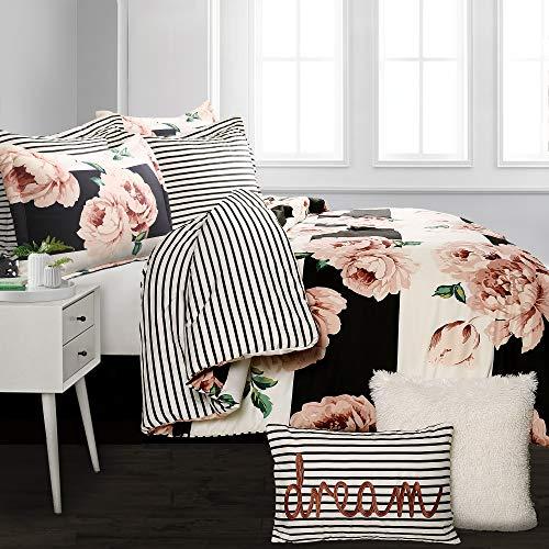 Lush Decor Amara Floral 7 Piece Reversible Comforter Set, Full/Queen, Black & Dusty Rose