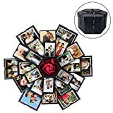 PartyTalk Explosion Box DIY Photo Album Scrapbook 6 Faces Explosion Gift Box for Wedding Proposal Engagement Birthday Anniversary Gifts, Black