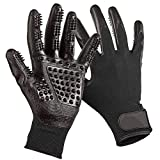 Enhanced Five Finger Pet Grooming Glove, Remove Fur Massage Gloves Brush for large Dogs Cats Horses, Long & Short Fur, One Pair