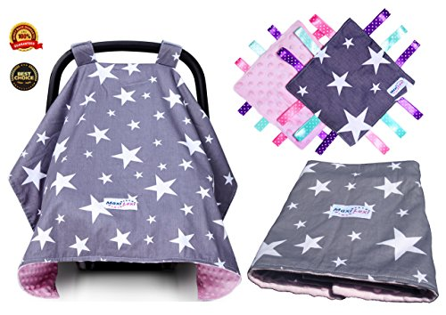Premium 4 in 1 Baby Car Seat Cover for Girls, Extra Large, Multi-use, Infant Carseat Canopy and Security Blanket, Fits All Car Seats, Pink, Soft, Universal, For Winter, Summer, Travel, Newborn gift (Car Seat Canopy Cover Purple compare prices)