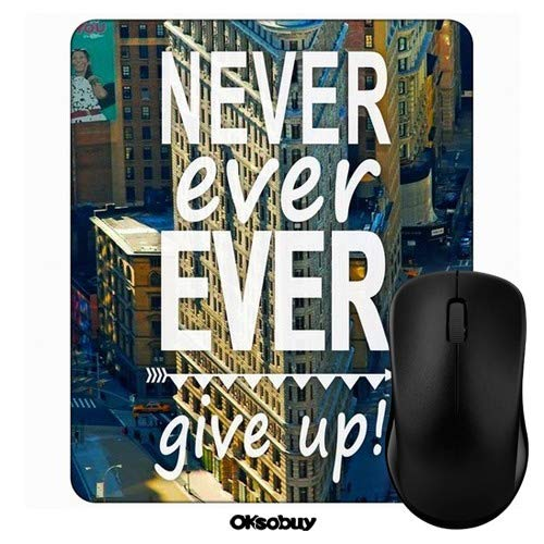 New York City Never Ever Ever Give Up Mouse Pad Oksobuy Custom Design,European City Landscape Mouse pad Gaming Mousepad Nonslip Rubber Backing (Synonyms For The Best Ever)