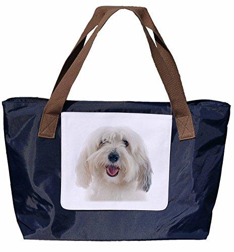 Shopper /Schultertasche / Einkaufstasche / Tragetasche / Umhängetasche aus Nylon in Navyblau - Größe 43x33cm - Motiv: Hund Malteser Porträt - 01