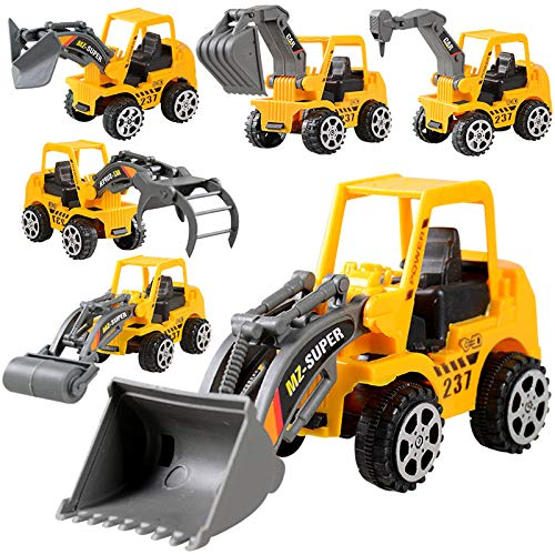 Angoo 6Pcs Construction Vehicle Truck Push Engineering Toy Cars Children Kid Toys, Perfect Truck Toy for Toddler Boys Girls