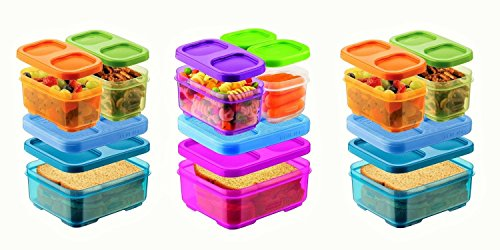 Rubbermaid Lunch Blox Sandwich Kits one Pink/Purple/Clear Kit and Two Blue/Green/Orange kits - Rubbermaid Containers Orange