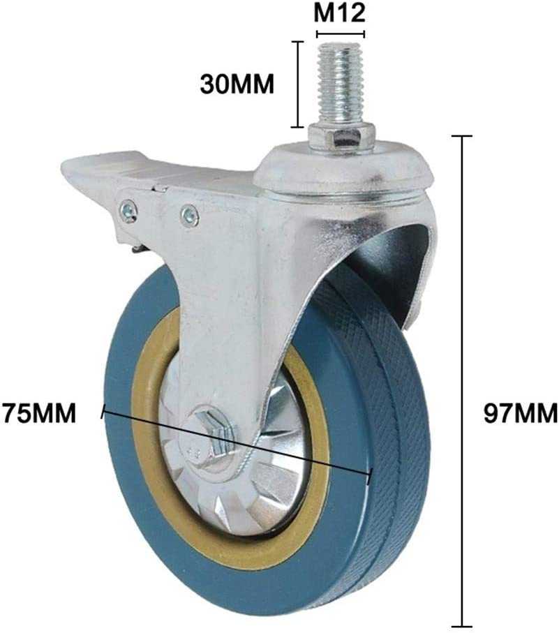 YINGJUN PVC Casters 4pcs Casters Heavy Duty Pneumatic Caster Wheels No Noise Wheels S7#5 Furniture Caster Color : C