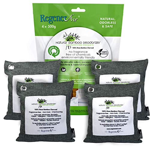 (Regenerair 4 x 500g Air Purifying Bags 100% Activated Bamboo Charcoal Deodorizer Odor Eliminator for Kitchens Bedrooms Bathrooms Cars Basements Pet Areas & Shoes)
