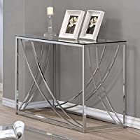 Coaster 720499-CO Glass Top Console Table, Chrome