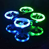 Mini LED Drone, Inkpot XXD158 Beginner RC Drone with 3 Batteries +5 in 1 Charging Cable, Altitude Hold Nano Quadcopter with Headless Mode&3D Flip for Kids and Adults