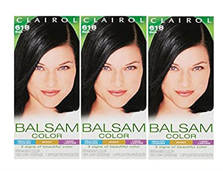 Amazon.com : Clairol Balsam Hair Color 618 Black 1 Kit (Pack of 3) : Chemical Hair Dyes : Beauty