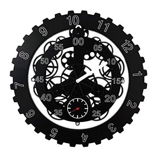 - Homyl Large 18''/45cm Metal Industrial Gear Wall Clock for Home Bar Shop Art Decor - Black