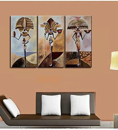 totem africano UZI-cultura de la pared de la casa de arte de pintura al óleo de lienzo pintado a mano con pintura de cáñamo 3pcs/Pack, painting only: Amazon.es: Hogar
