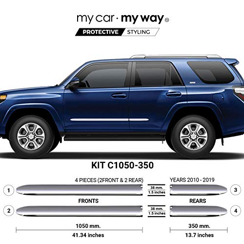 MY CAR MY WAY (Fits) Toyota 4Runner 2010-2019 Chrome Body Side Molding Cover Trim Door Protector