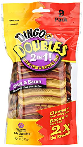 Dingo Doubles 2-In-1 Cheese and Bacon Treats (9 Pack), Small/Medium