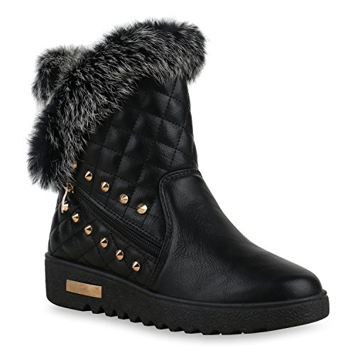 Stiefelparadies Damen Stiefeletten Warm Gefütterte Stiefel Leder-Optik Winter Boots Nieten Zipper Schnallen Camouflage Schuhe Flandell Schwarz