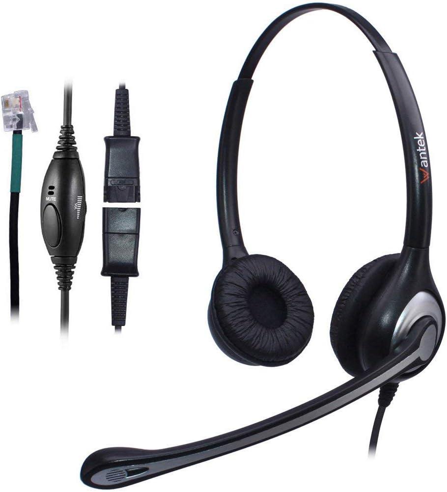 Wantek Corded Telephone Headset Dual w/Noise Canceling Mic + Quick Disconnect for Avaya 1416 2410 9508 Aastra 6757i Allworx 9212 Plantronics S12 Mitel 5330 Comdial Digium Landline Deskphones(602QS1)