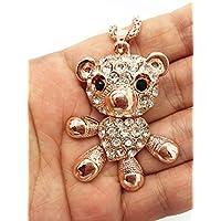 QTMY Bear Crystal diamond Monkey Statement Choker Long gold Necklace Chain Jewelry with Pendant for Women teen girls