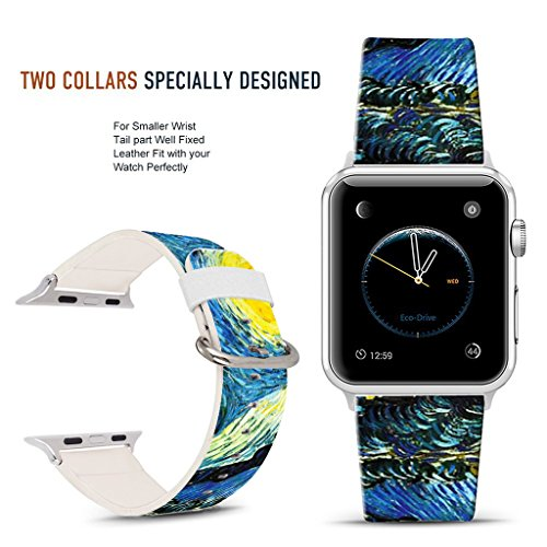(For Apple Watch Band 38mm Blue waves, DOO UC Stainless Steel Watch Band Replacement Strap for Both Apple Watch Series 1 and Series 2 and Series 3 - 38mm)
