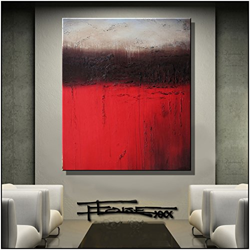 Modern, Abstract, Canvas Wall Art, Painting, Limited Edition Giclee Tuscan Red 36x30x1.5 inch Ready to Hang, US artist ELOISExxx by ELOISE WORLD STUDIO - ELOISExxx