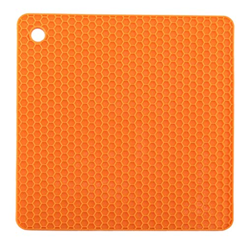 Juner Silicone Waterproof Placemat Table Mat Heat Insulation Anti-skidding Washable DurableFor Kitchen Dining RoomMulti Colors (Orange) ()