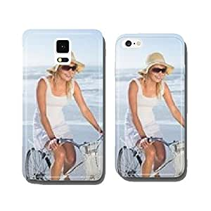 Gorgeous happy blonde on a bike ride at the beach cell phone cover case iPhone5