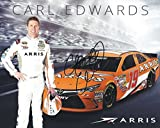 AUTOGRAPHED 2016 Carl Edwards #19 Arris Racing Team (Gibbs) Signed Promo Picture 8X10 inch NASCAR Hero Card Photo with COA