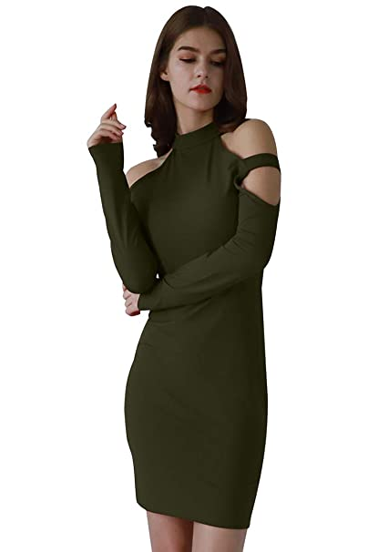 20c282bc09cf YMING Women's Cold Shoulder Midi Dress Party Long Sleeve Bodycon Dress Army  Green S