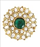 Diva Style Me Green White Alloy Gold Plated Ring For Women