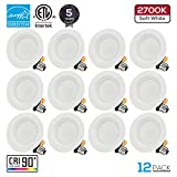 TORCHSTAR 12-Pack 4 Inch LED Downlight with Baffle Trim, Dimmable, 10W (65W Replacement), Retrofit LED Recessed Lighting Fixture, 2700K Soft White, CRI90+, Energy Star & ETLListed LED Ceiling Light