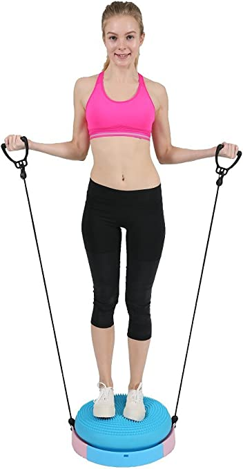 Amazon Com Akc Kinetics Fitness Massage Balance Ball Trainer With Resistance Bands Yoga Workout Kit Blue Pink Free Pump Instructions Sports Outdoors