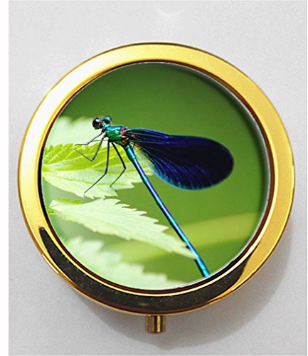 Price comparison product image RainbowSky Animal dragonfly Mini Portable Pocket Purse Pill Box Case Pillbox,  3 Compartments,  Gold,  G633