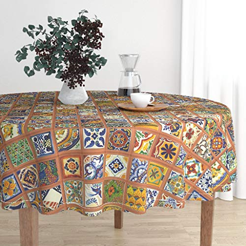 Round Tablecloth - Talavera Tile Mexican Pottery Red Clay Mortar Latin America Aztec Art Maya by Wren Leyland - Cotton Sateen Tablecloth 90in ()