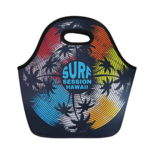 Semtomn Neoprene Lunch Tote Bag Surf and Surfing in Hawaii Stylization Vinyl Record Reusable Cooler Bags Insulated Thermal Picnic Handbag for Travel,School,Outdoors,Work