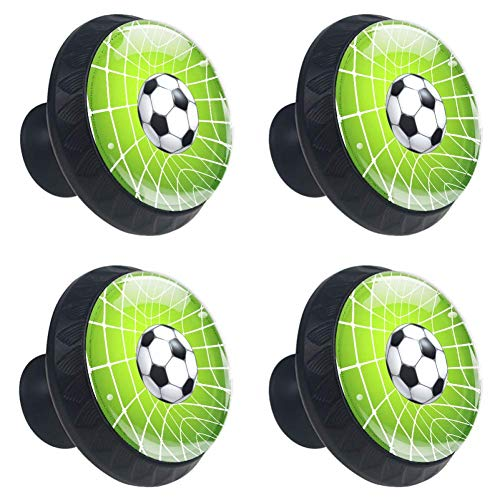 LORVIES Football Soccer Ball in A Net Drawer Knob Pull Handle Crystal Glass Circle Shape Cabinet Drawer Pulls Cupboard Knobs with Screws for Home Office Cabinet Cupboard (4 Pieces)