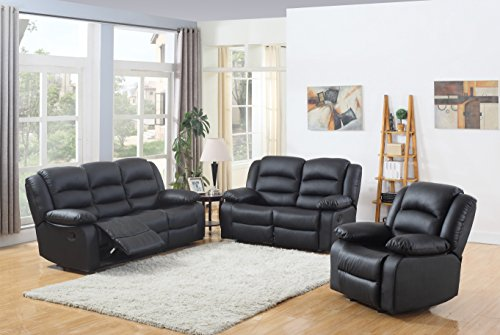 (Classic and Traditional Black Real Grain Leather Recliner set - Sofa Double Recliner, Loveseat Recliner, Single Chair Recliner)