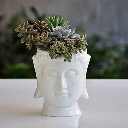 Buddha Head Face Ceramic Flower Pot Planters for Home Garden Ofiice Desk Decor (White)