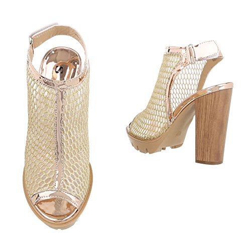 Ital peep Donna Gold Scarpe toe Design nnOWS