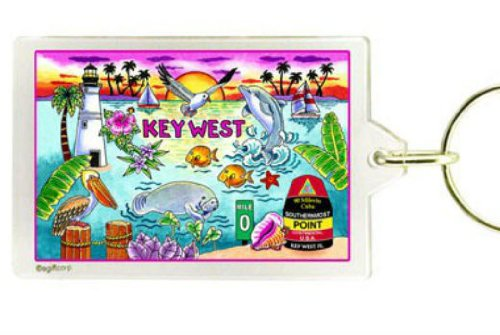 Key West Florida Map Acrylic Rectangular Souvenir Keychain 2.5