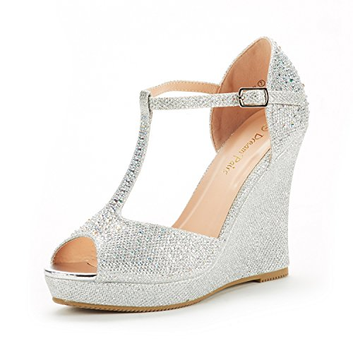 Angeline-01 Silver Glitter Fashion Dress Wedges Platform Heel Peep Toe Wedding Pumps Sandals Size 6.5 M US (Thong Platform Shoes)