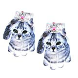 DEATU Sale Children Kids Winter Warm Vivid Animal Knitted Kitty Pet Cute Gloves Fashion Magic Stretch Colorful Gloves(C,Onesize)