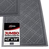 """SlipToGrip - (Gray) Universal Plaid Door Mat with DuraLoop - XL 42""""x36"""" Outdoor Indoor Entrance Doormat - Waterproof - Low Profile Door Mat - Welcome - Front Door Garage Patio - PHTHALATE & BPA FREE"""