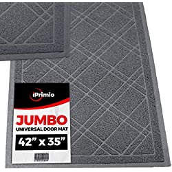 """SlipToGrip - (Gray Universal Plaid Door Mat with DuraLoop - XL 42""""x36"""" Outdoor Indoor Entrance Doormat - Waterproof - Low Profile Door Mat - Welcome - Front Door, Garage, Patio - Phthalate & BPA Free"""