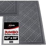 """SlipToGrip - (Gray Universal Plaid Door Mat with DuraLoop - XL 42""""x35"""" Outdoor Indoor Entrance Doormat - Waterproof - Low Profile Door Mat - Welcome - Front Door, Garage, Patio - Phthalate & BPA Free"""
