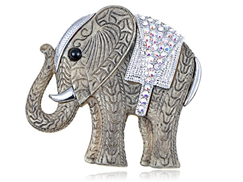 Alilang Swarovski Crystal Elements Carved AB Stone Elephant Pin (Elements Of Nature Costumes)