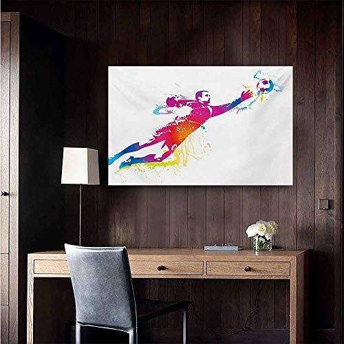 duommhome Soccer Light Luxury American Oil Painting Goalkeeper Catches The Ball Goal Star Training International Game Artsy Spray Design Home and Everything 35
